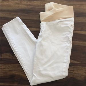 Skinny Ankle Length White Maternity Jeans